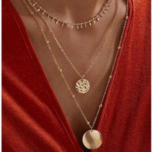 5 for $25 Gold Color Medallion Coin Necklace